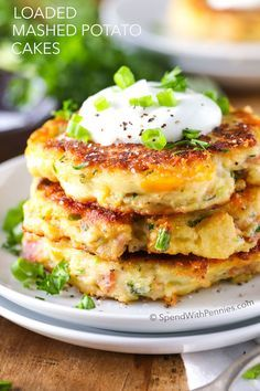Loaded mashed potato cakes. Man, this looks like comfort food at its finest! Best potato recipe ever! Yummy!