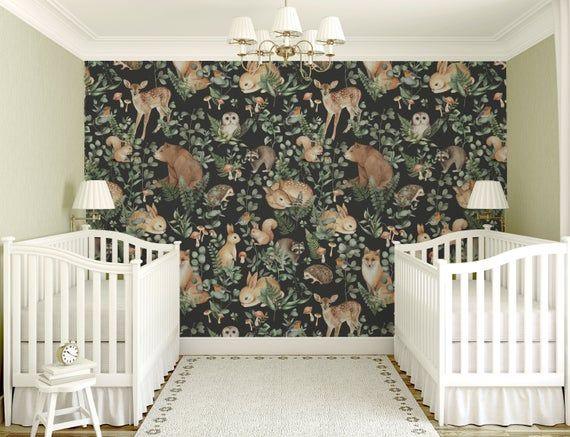 Woodland Animals Wallpaper Peel And Stick Nursery Decor Etsy Animal Mural Animal Wallpaper Mural Wallpaper