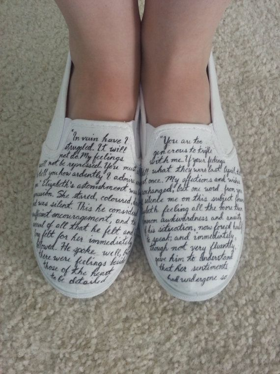 Jane Austen's Pride and Prejudice Custom Made Shoes - they have both of Darcy's proposals on there!