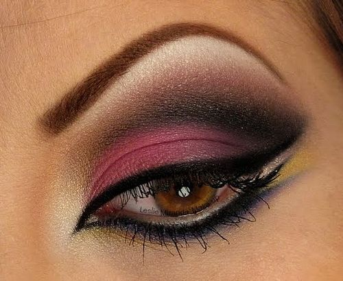 Best Arabic eye makeup pictures 2014 - Pink eye Makeup