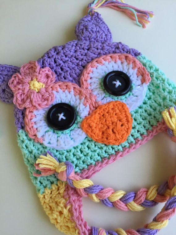 Baby hat crochet owl hat owl hat crochet kids hat custom