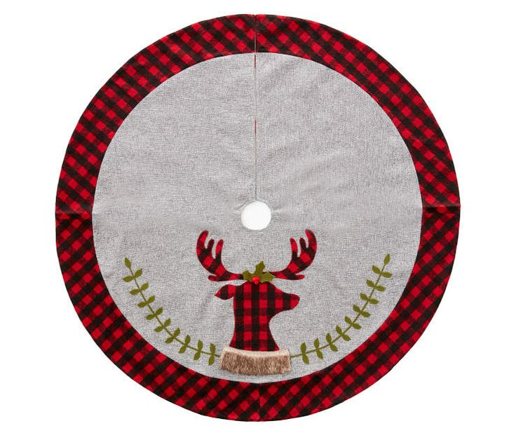 Plaid Reindeer With Gray Burlap Tree Skirt 48 At Big