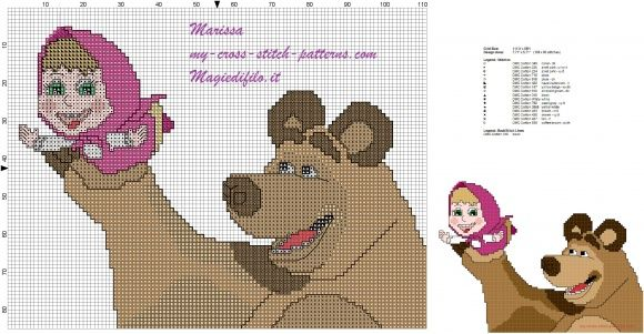 cross stitch pattern free masha and bear