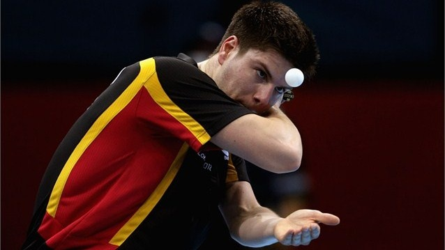 Dimitrij Ovtcharov of Germany serves during men's Singles Table Tennis Bronze medal match against Chih-Yuan Chuang of Chinese Taipei on Day 6 of the London 2012 Olympic Games.