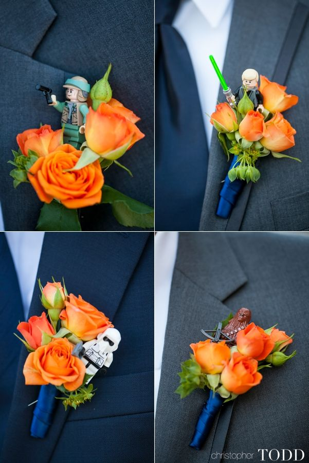 orange county wedding photography stars wars figure in groom boutonniere