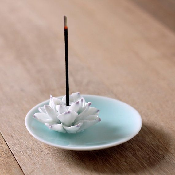 Lotus : Rustic Wall Decor / Ceramic Incense Holder by Poarttery
