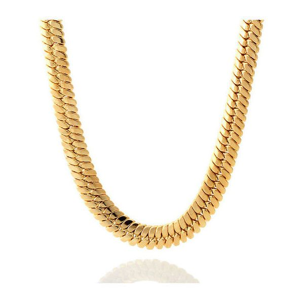 King Ice 14K Gold Thick Herringbone Chain ($48) ❤ liked on Polyvore featuring men's fashion, men's jewelry, men's necklaces and gold