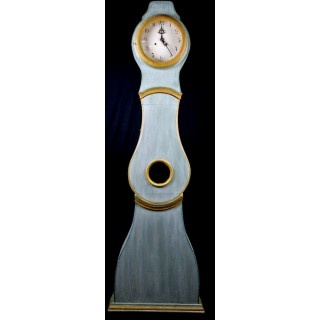 1800s Swedish Turquoise and Gold Mora Clock
