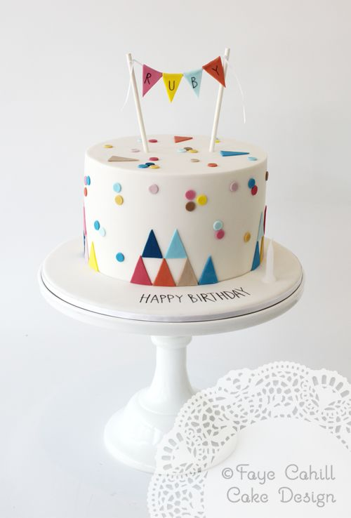 Confetti and geo first birthday cake by Faye Cahill Cake Design