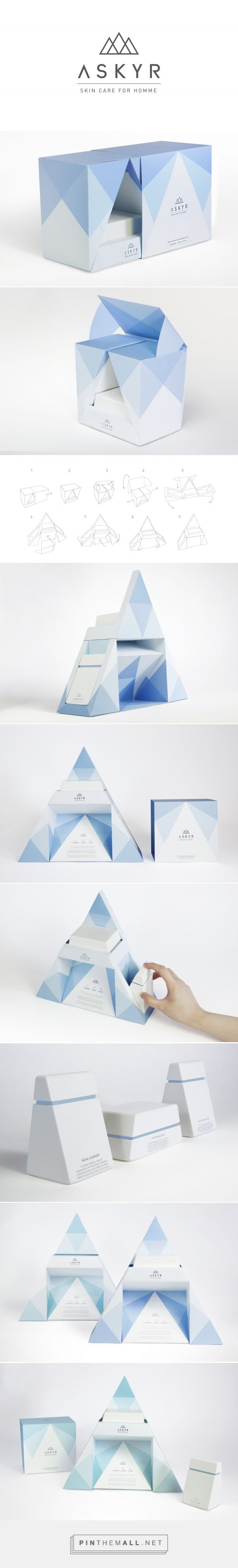 ASKYR is a premium men's skincare brand based in Greenland. The project is for ASKYR gift set packaging including Facial cleanser, Scrub and Lotion. The logo, structure and graphics are inspired by the shape and color of iceberg. From both primary and secondary packaging structure to identity design and overall graphic style, ASKYR is designed in hope of achieving a comprehensive and consistent brand gestalt.