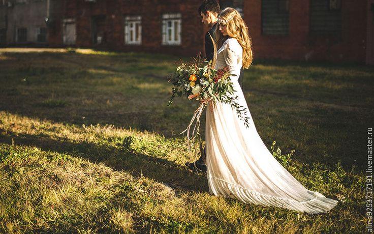Купить кружевное свадебное платье - бежевый, винтажное платье, свадебное платье, кружевное платье