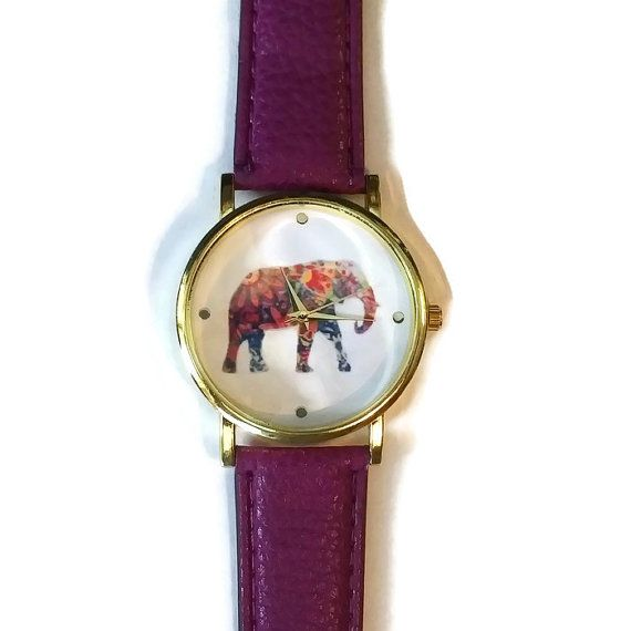 Colorful Elephant Purple Leather Watch Gift for by BriAndAshStore