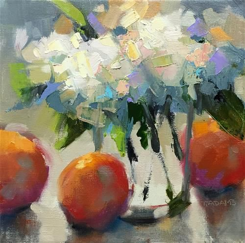 "Daily Paintworks - ""Hydrangeas & Oranges"" - Original Fine Art for Sale - © Trisha Adams"