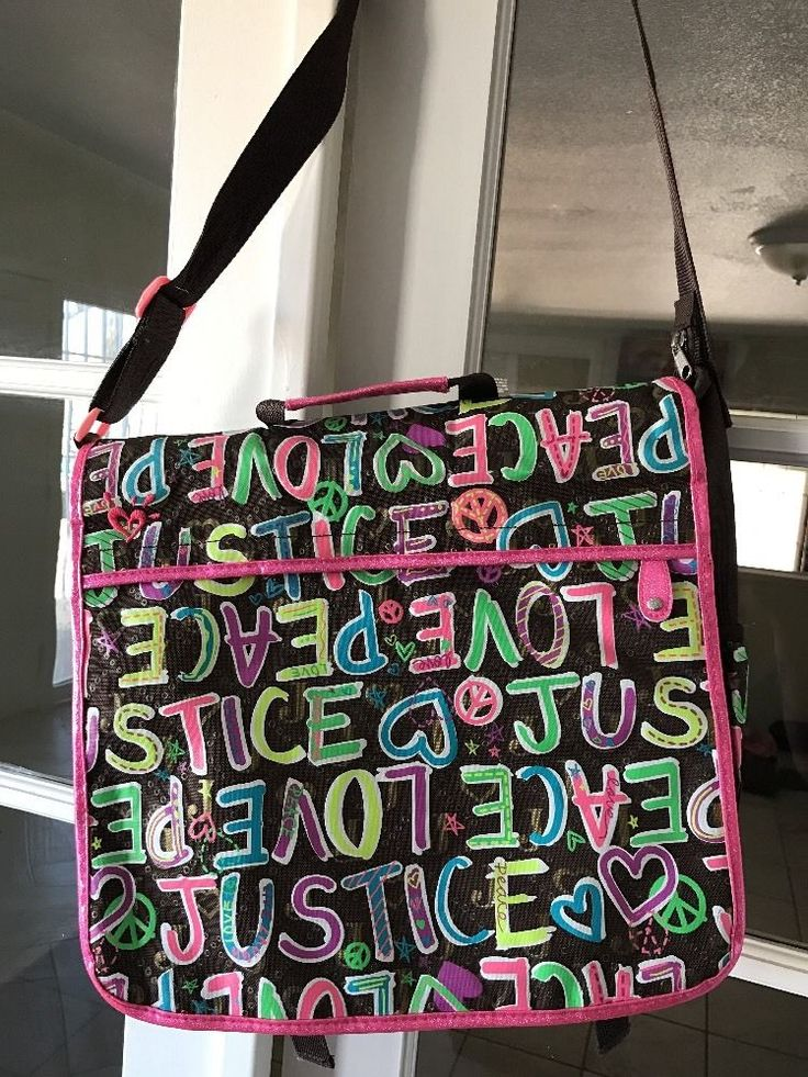 JUSTICE Brown Pink Bright Messenger School Bag Backpack Preteen Peace Love Tween  | eBay
