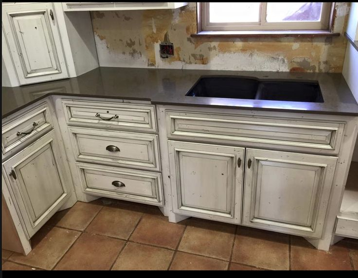 White Cabinets With A Gray Glaze