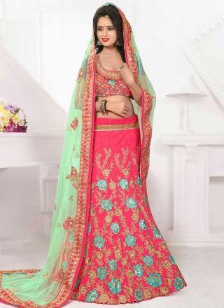 Pink Green Embroidery Work Net Silk Fancy Designer Wedding Lehenga Choli http://www.angelnx.com/Lehenga-Choli/Designer-Lehenga-Choli