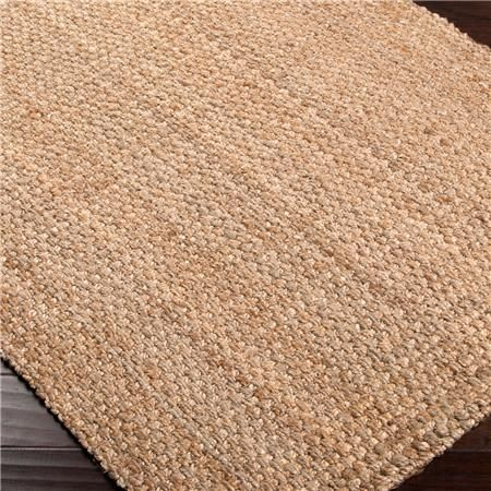 Shades of Light/Jute Tweed Flatweave Rug -- larger neutral jute rug w/ grey-pattern runner size layered on top
