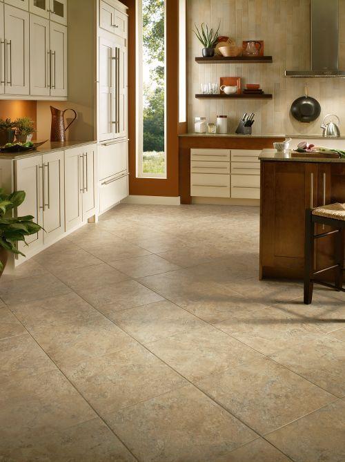 Armstrong Luxury Vinyl Tile  |  LVT  |  Beige Stone Look  |  Diagonal Installation  |  Kitchen & Dining Ideas