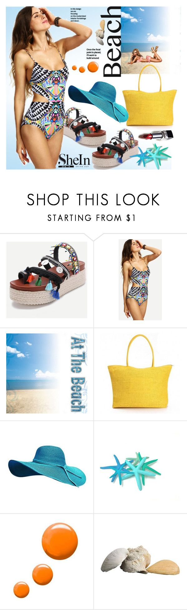 """Tribal Swimwear with SheIn"" by markitahamilton3 ❤ liked on Polyvore featuring Topshop, swimwear, tribal and shein"
