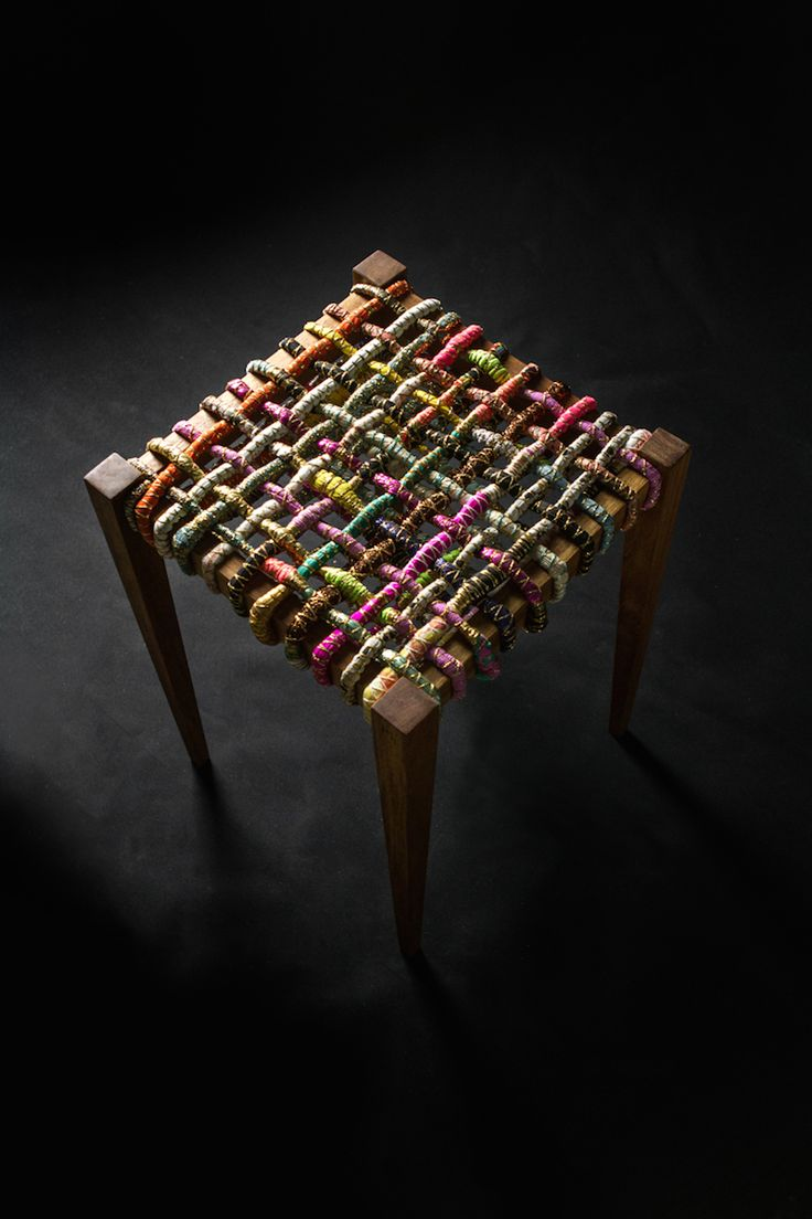 Wooden and weave stool l Custom made furniture l Clean line furniture