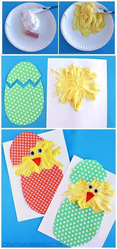 Hatching Puffy Paint Chicks - Cute Easter craft for kids!   CraftyMorning.com