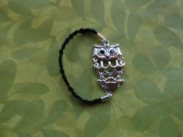 Owl silver braided black rope bracelet