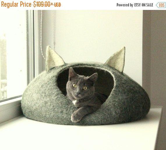Animaux de compagnie lit / maison de chat lit - grotte de chat - chat - écologique fait à la main feutrée cadeau de Noël-lit - blanc naturel et vert foncé - laine chat