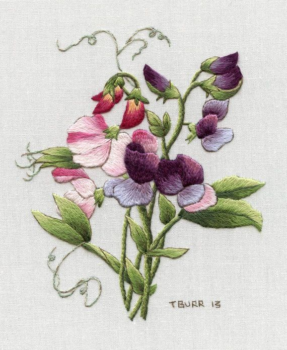Embroidery Kit: Redoute's Sweet Peas http://trishburr.com/ See Trish Burr's Blog for thread list correction. Beautiful design: