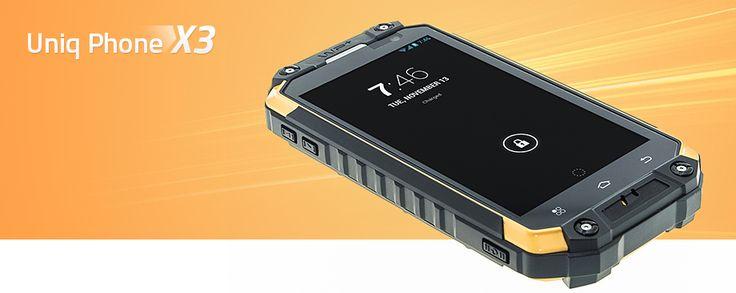 Uniq Phone X3 - Outdoor Smartphone - Odolný mobilný telefón s OS Android 4.4.2 s vynikajúcimi parametrami: 8-jadrový procesor,kamera zadná 12Mpx, predná 5Mpx, 2GB RAM,  IP68..., ktorý tiež disponuje funkciou walkie talkie (komunikácia pomocou vysielačky). Spĺňa vojenskú normu MIL-STD 810G a IP68.