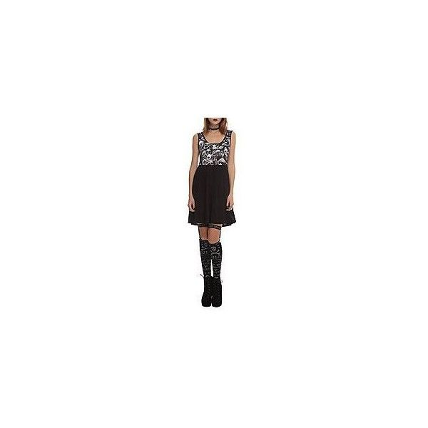 Teenage Runaway Skulls Dress | Hot Topic ❤ liked on Polyvore featuring dresses, tank top dress, hot topic, skater skirt, flared skirt and circle skirts
