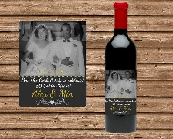 50th Anniversary Party Favors - Wine Bottle Labels - Mini Champagne Bottle Labels - 50th Anniversary Decorations - Photo Personalized