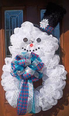 XL Mesh Snowman Wreath by JenniferzWreaths on Etsy