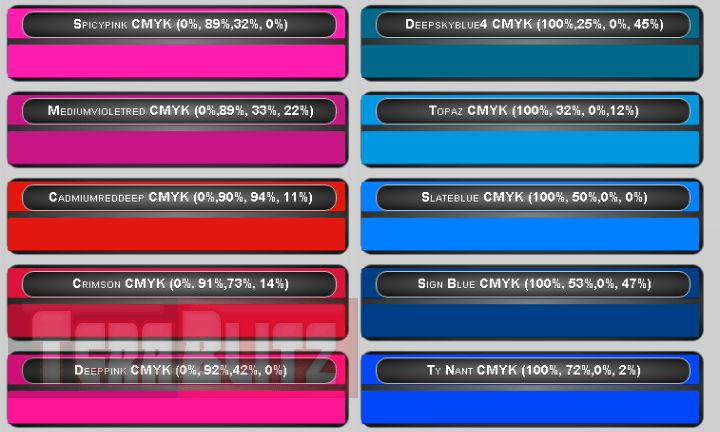 This is the CMYK Color Chart Cyan, Magenta, Yellow and Key Table Cheat Sheet. This color combination is the standard in the Print industry. CMYK (also known as process color or four color) is known as a subtractive color model, utilized in color printing, and is said to also describe how the printing process is made.