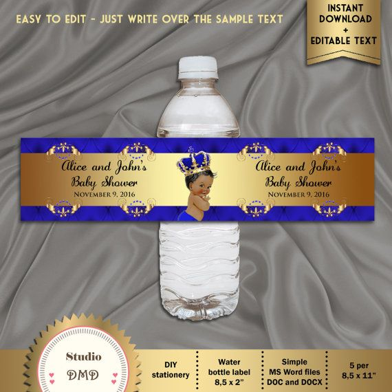 Printable Baby Shower Water Bottle Labels Royal Baby Shower