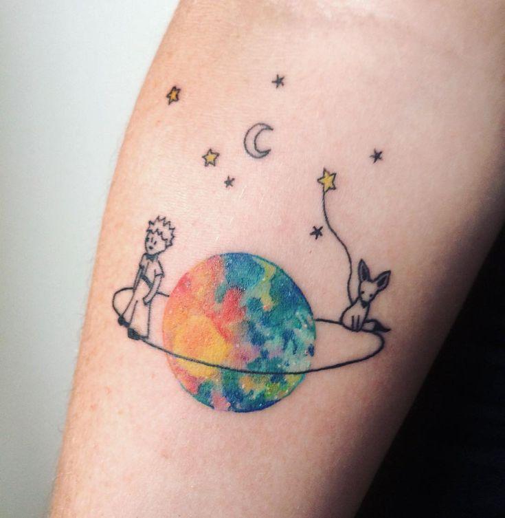 Little prince tattoo. Principito tatuaje. Watercolour. - By Ana Maturana