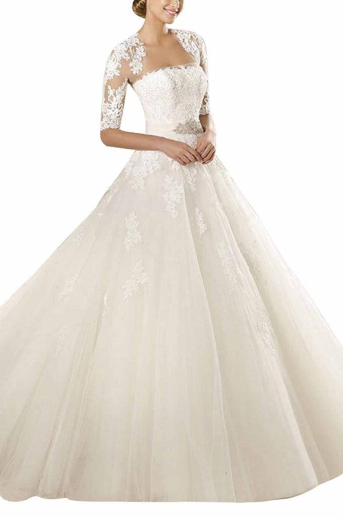GEORGE BRIDE Elegant Traegerlos Prinzessin Tuell Spitze Mit Bolero Hof-Schleppe Lang Brautkleider Hochzeitskleider, Groesse 36, Elfenbein