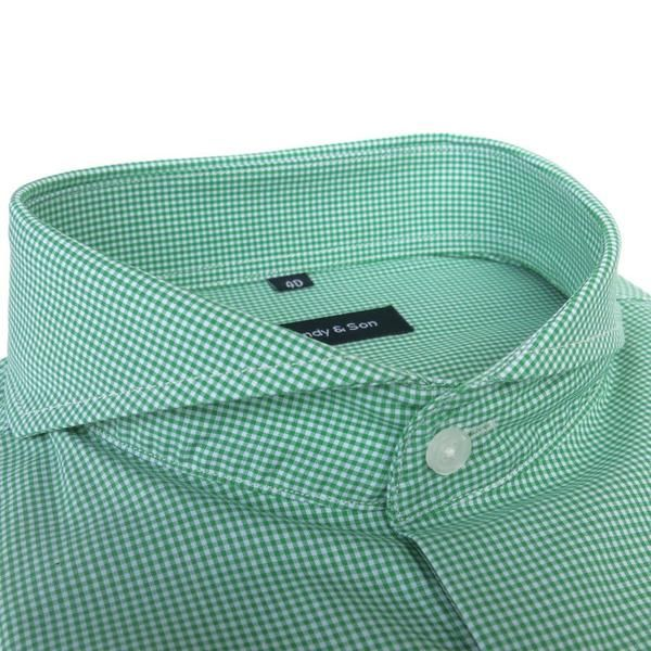 Our new Extreme Cutaway Green Check Shirt is here. This shirt with a delicate and soft light green checkered fabric. Extreme Cutaway Collar  Barrel Cuff, angled
