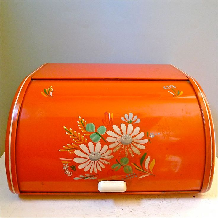 Vintage Ransburg Orange Hand Painted Bread Box. 1940's-50's. Whoa, thats my bread box!