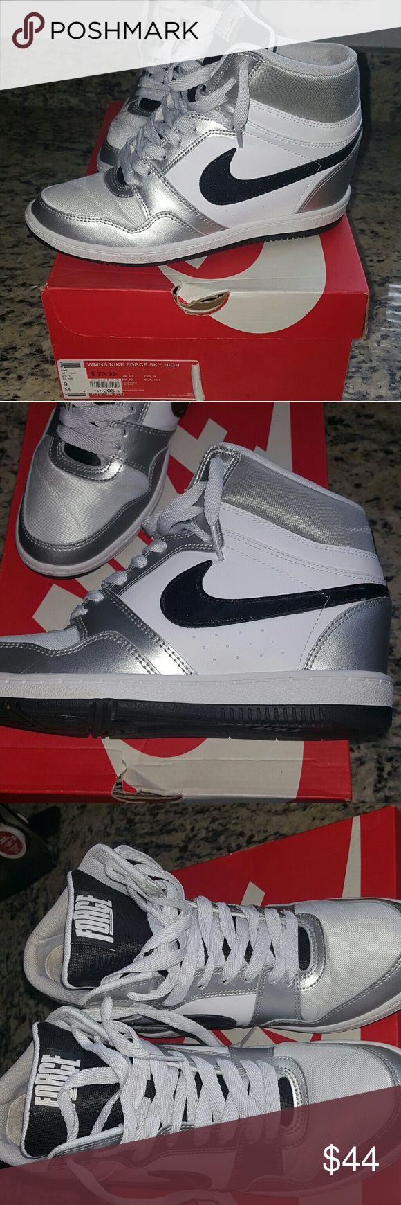 Nike Force Sky Wedge Sneakers Nike Wedge Sneakers, White, silver and black Nike Shoes Sneakers