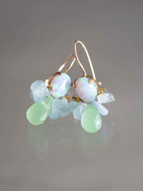 oorbellen Bee opaal, aquamarijn, groen kristal - Ottomania