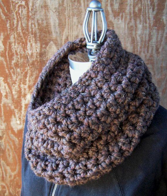 Chunky brown neck warmer wood crochet winter scarf by GloriousMorn