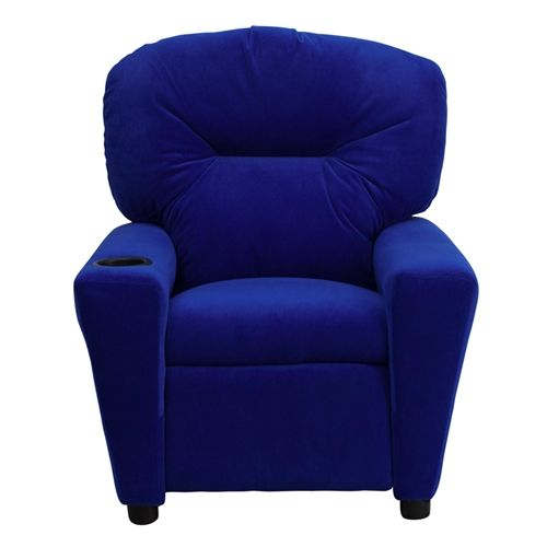 blue recliner chairs | Contemporary Blue Microfiber Kids Recliner with Cup Holder by Flash ...