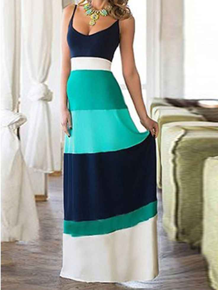 Teal Blue Contrast Color Spaghetti Strap Maxi Dress