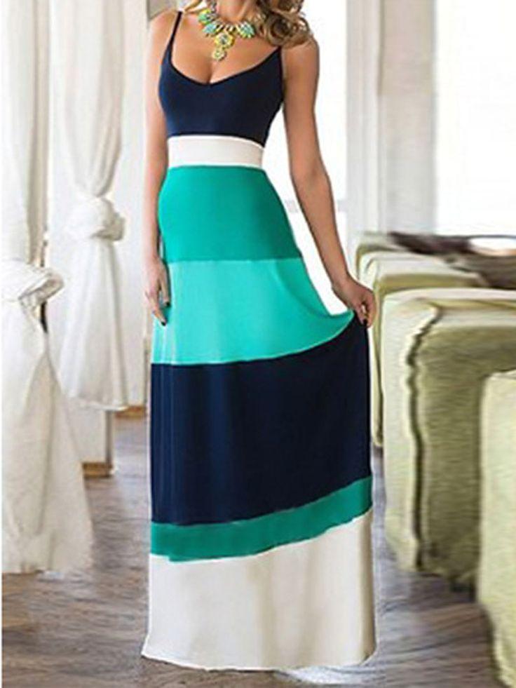 Teal Blue Contrast Color Spaghetti Strap Maxi Dress