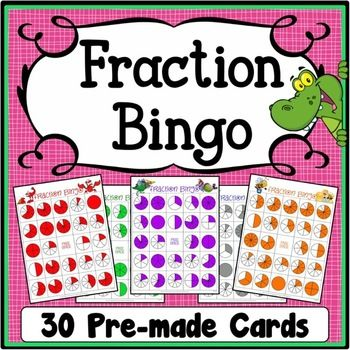 Fractions Bingo Game Packet contains 30 randomized and uniquely themed fractions bingo cards and 2 fractions bingo calling cards.  There are 24 fractions and 1 free space on each fractions bingo card.  Each fractions card has random fractions from 1/1 to 10/10.