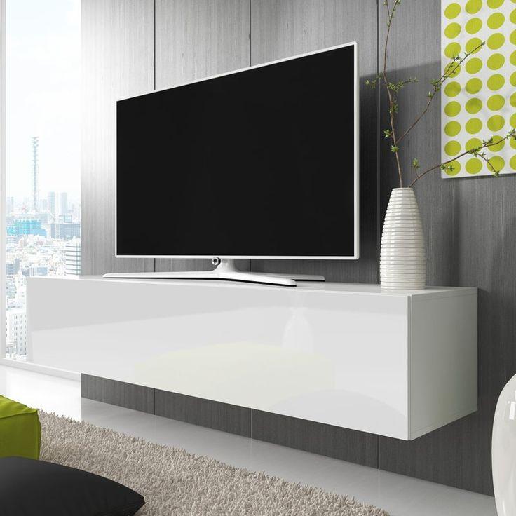 Das wandmontierte TV-Lowboard Point verfügt über Klapptüren und ist für Fernseher bist zu 55 Zoll geeignet. Die Vorderseite besteht aus hochglänzendem, laminiertem MDF. Dieses Lowboard wird flach verpackt geliefert und eine Schritt-für-Schritt Montageanleitung für einen einfachen Zusammenbau ist enthalten.