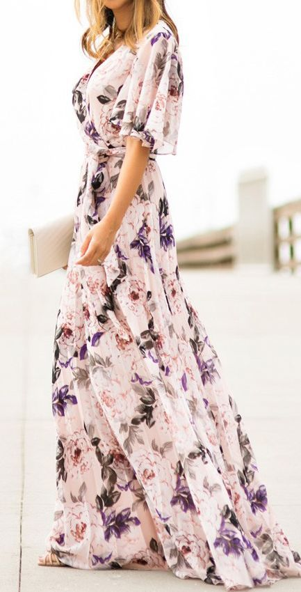 Floral maxi dress for spring. The muted color scheme here is gorgeous.