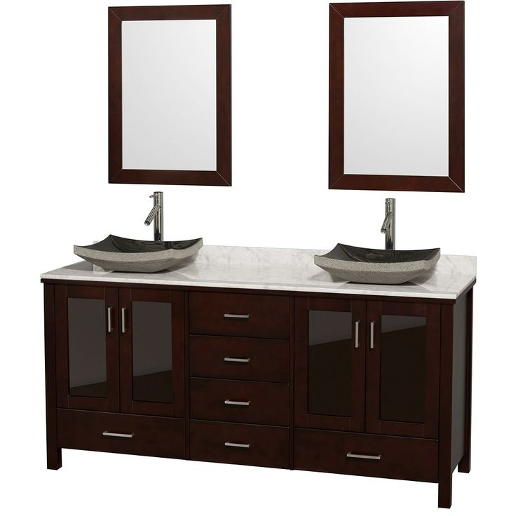 Gallery For Photographers Wyndham Collection Lucy Espresso Vessel Double Sink Bathroom Vanity with Natural Marble Top Common x Actual x