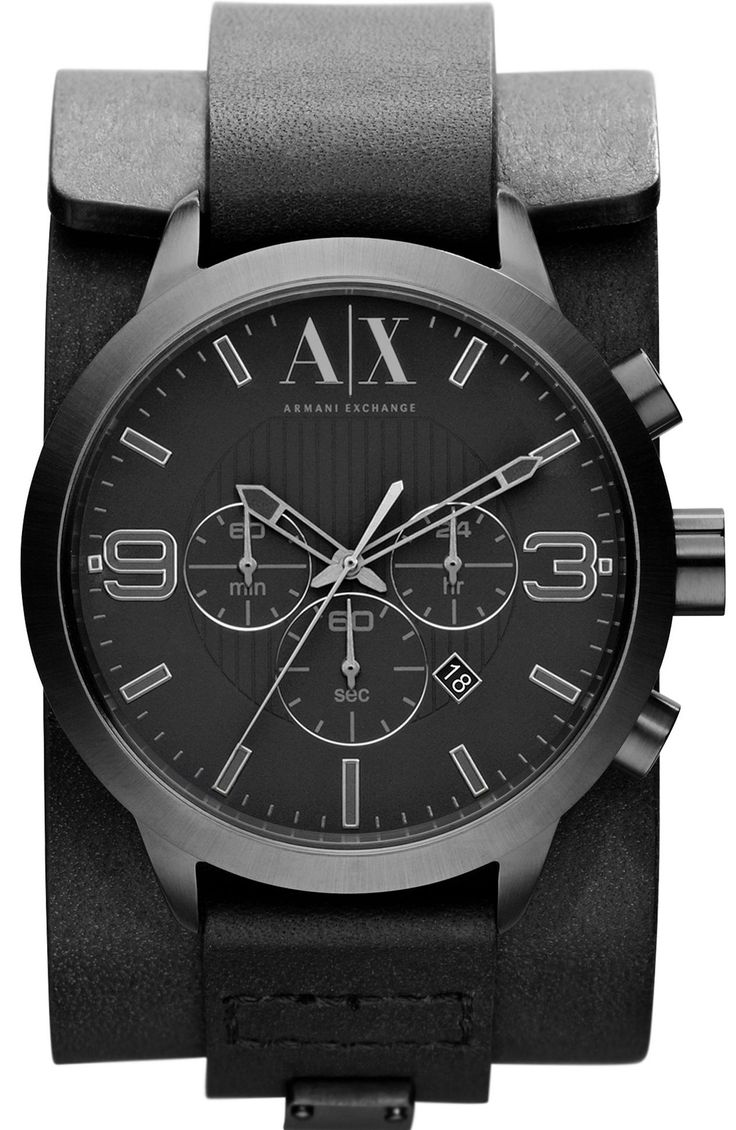 Armani Exchange  Black Leather Cuff Watch