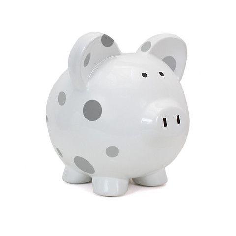 Piggy Bank - Polka Dot Grey Dots